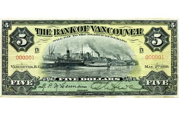 $5 issued by Bank of Vancouver in 1910