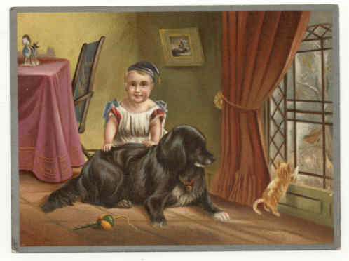 a240023 art child dog and cat