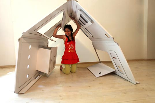 foldable cardboard furniture. Remember When A Giant Cardboard Box Was Magical Playhouse? Folding Tops Became Windows Or Doors, And Sheets Over Furniture Extended Your Own Foldable
