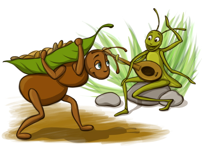 cartoon of ant singing and grasshopper working